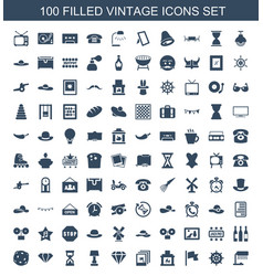 100 vintage icons vector image