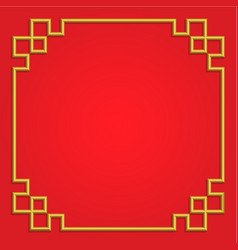 3d golden chinese frame on red background border vector image