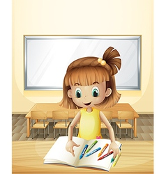 A girl inside the classroom with her books and vector