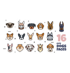 a set of stickers with different dog muzzles vector image