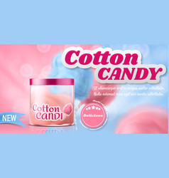 ad poster with cotton candy in box vector image