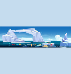 Arctic sea with melting iceberg and plastic trash vector