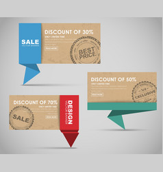 Banners for big sale origami style vector image
