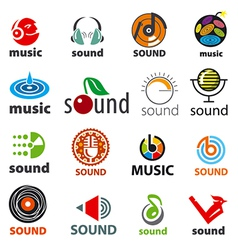 big set of logos sound and music vector image