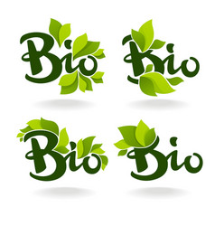 bio labels with lettering composition and green vector image