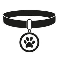 Black and white pet collar silhouette vector