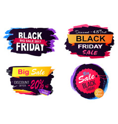 black friday big sale stickers vector image