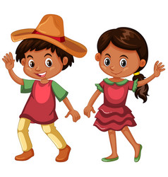 boy and girl in mexico costume vector image vector image