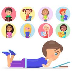 brunette boy lying and reading book smart kids vector image