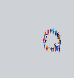 business people crowd forming shape letter q vector image