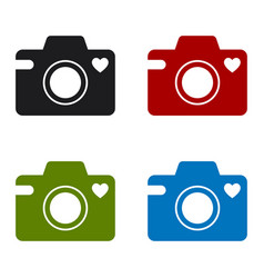 camera icon with a heart symbol vector image