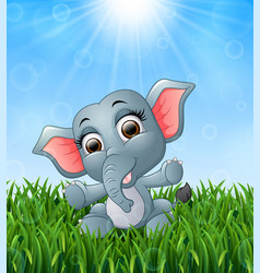 cartoon baby elephant sitting in the grass on a ba vector image