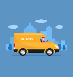 cartoon delivery van with deliveryman vector image