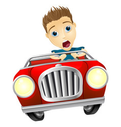 cartoon man driving fast car vector image