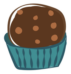 chocolate cupcake on white background vector image