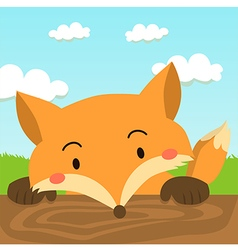 Close up Cute Red Fox Cartoon vector image