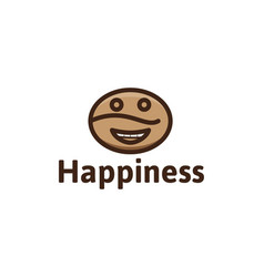 coffee bean happy emoticon coffee shop logo logo vector image