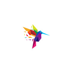 creative colorful humming bird logo vector image
