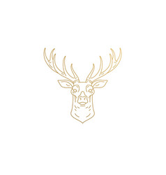 deer head with huge antlers silhouette linear vector image