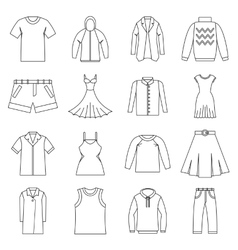 Different clothes icons set outline style vector