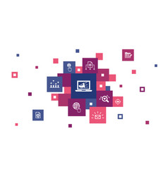 digital marketing infographic 10 steps pixel vector image