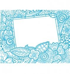 doodle monochrome frame decora vector image