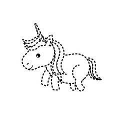 Dotted shape nice unicorn with horn and hairstyle vector