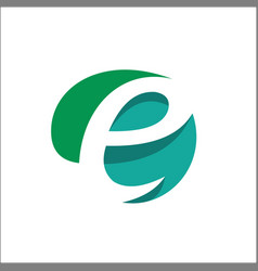 eco natural letter initial e logo design template vector image