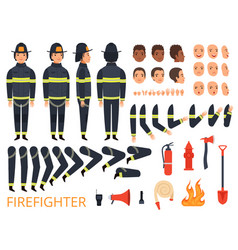 fireman characters firefighter body parts and vector image
