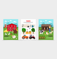 Flat farm and agriculture posters vector