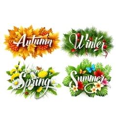 Four seasons typographic banner vector