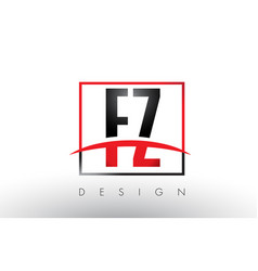 fz f z logo letters with red and black colors and vector image