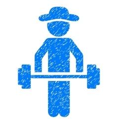 Gentleman Power Lifting Grainy Texture Icon vector image