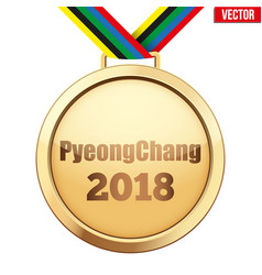 Gold medal with text pyeongchang 2018 vector