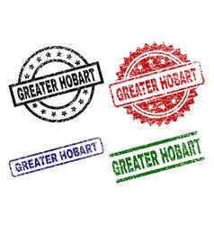 Grunge textured greater hobart stamp seals vector