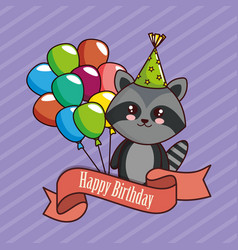 happy birthday card with cute raccoon vector image