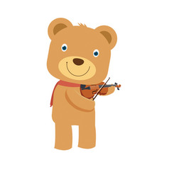 happy cute brown teddy bear playing violin in vector image