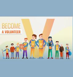 Helping volunteering concept banner cartoon style vector