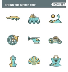 Icons line set premium quality of round the world vector image