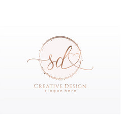 Initial sd handwriting logo with circle template vector
