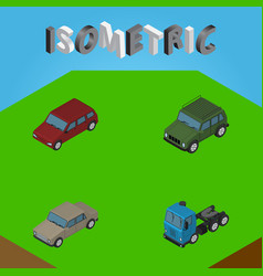 Isometric transport set of truck armored car and vector