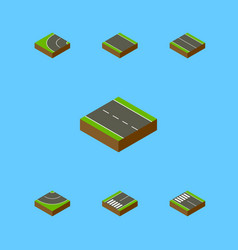 Isometric way set of single-lane way vector