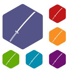 Japanese katana icons set hexagon vector