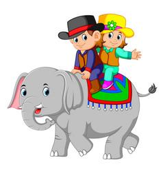 kids ride cute elephants happily vector image