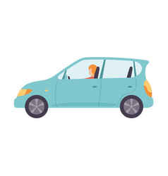 light blue car with male driver side view vector image