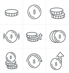 Line Icons Style Coins Icons Set Design vector image