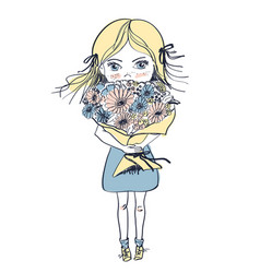 little freckles girl with big bouquet flowers vector image