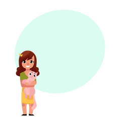Little girl child kid standing holding a cat vector