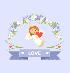 love and cupid with heart valentines day greeting vector image
