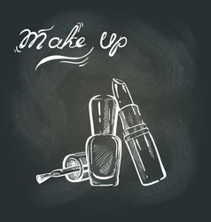 Makeup on the blackboard vector